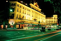 Hotel lit up at night, Hotel D'angleterre, Copenhagen, Denmark
