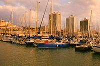 Boats docked at a harbor, Tel Aviv, Israel