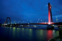 Suspension bridge across a river, Maas River, Rotterdam, Netherlands