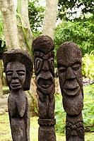 Close-up of carved stone statues, Fiji