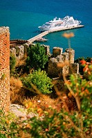 High angle view of a fort with a cruise ship docked near a jetty, Alanya, Turkey