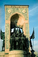 Low angle view of a monument, Cumhuriyet Aniti, Taksim Square, Istanbul, Turkey
