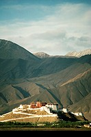 Palace near mountains, Potala Palace, Lhasa, Lhasa Valley, Tibet, China
