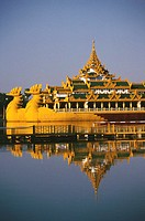 Palace on a barge in a lake, Yangon, Myanmar (thumbnail)