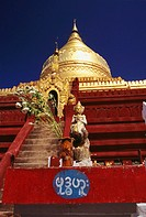Low angle view of a pagoda, Shwedagon Pagoda, Bagan, Myanmar