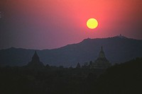 Sunset over pagodas, Bagan, Myanmar