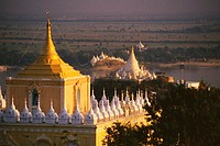 High angle view of a pagoda, Sagaing, Myanmar
