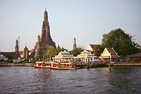Temple on the bank of a river, Wat Arun, Bangkok, Thailand