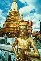 Statue in front of a temple, Wat Phra Kaeo, Grand Palace, Bangkok, Thailand