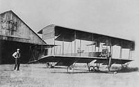 il primo biplano caproni interamente italiano anche nel motore anzani, malpensa, 27.5.1910