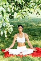 young woman, yoga, outdoor