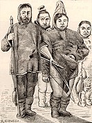 Greenlanders in polar dress made of animal skins, carrying a spear and a bow and arrow  19th century engraving after a painting made in 1654