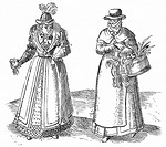 English countrywoman carrying basket of chickens and wearing apron over plain clothes right  On left is a lady of the Court with fur-trimmed coat over...