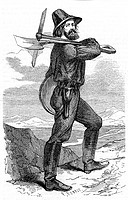 Mining prospector in the Californian gold fields  From 'L'Illustration' Paris 18 June 1853  Wood engraving