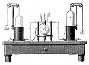 Lavoisier´s apparatus for synthesizing water from hydrogen left and oxygen right  From Robert Routledge ´A Popular History of Science´, London, 1881  ...