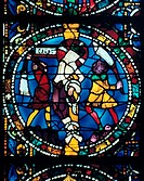 Stain glass window from the cathedral of Chartres, X111 century  The flagellation