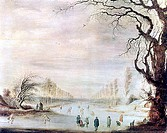 A Winter Landscape with Ice Skaters', 1586-1643  Located in the collection at, State Hermitage Museum, St Petersburg