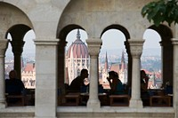 Hungary, Budapest, Fisherman´s Bastion, people in restaurant