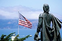 Christopher Columbus Statue at Telegraph Hill and Coit Tower, San Francisco, California, USA