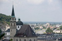 Austria, Salzburg, church and cityscape