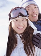 Portrait of a Couple on Wearing Ski Wear