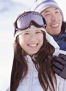 Portrait of a Couple on Wearing Ski Wear