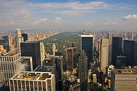 USA, New York, New York City, Central Park and cityscape