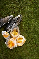 Plastic bags of oranges, water bottle, and cleats on sports field, high angle view