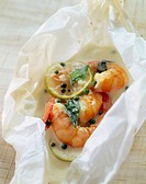 gamba prawns with green peppercorns