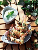 gamba prawns with coriander topic: kebabs