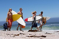 Four young friends walking on beach, carrying surfboards underarm, sea in background
