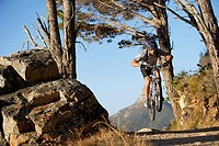 South Africa, male mountain biker in mid-air over dirt track, front view