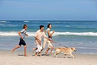 Two generation family taking dog for walk on sandy beach, running and smiling, sea in background