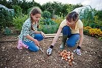 Mother and daughter 9-11 planting bulbs with trowel in garden, crouching in soil, smiling