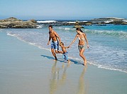 Two generation family walking from sea to beach, holding hands, smiling, side view