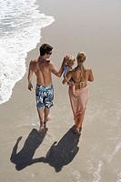 Two generation family walking along beach, woman carrying daughter 2-4, rear view, elevated view