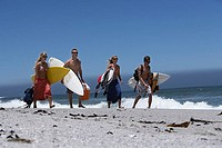 Four young friends walking along beach, carrying surfboards and cooler