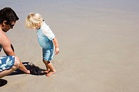 Father and daughter 2-3 playing on sandy beach, girl standing in small tide pool, side view