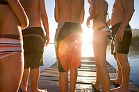 Five family members, in swimwear, standing on lake jetty at sunset, mid-section, rear view lens flare, backlit