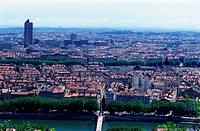 Aerial of Lyon, France