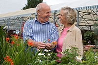 Senior couple shopping in garden centre, man holding red flower, smiling, face to face