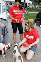 Florida, Miami, Bayfront Park, Purina Walk for the Animals. Bank Atlantic volunteer.