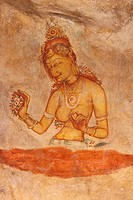Sri Lanka, Sigiriya Rock, Ancient painting on cave wall