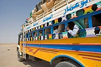 Sudan, bus in the desert
