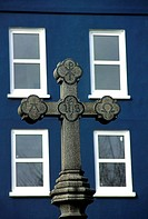 Channel Islands, Guernsey, St Peter Port, cross and facade