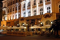 Hungary, Budapest, Gerbeaud Cafe by night