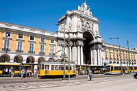 Trams in Praça do Comercio, Lisbon. Portugal