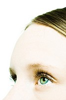 Teenage girl, close-up of eyes and forehead