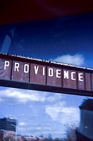 Sign reading ´´Providence´´ as seen from moving car´