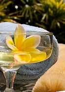 Spa elements, yellow plumeria floating in glass, with loofah and towel